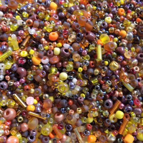 Large Pack Autumn Colours Seed and Bugle Glass Bead Mix x 100g